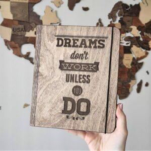 enjoythewoodestonia puidust märkmik dreams