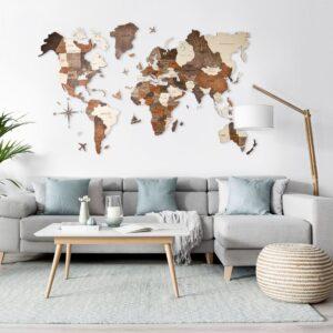 enjoythewoodestonia puidust maailma seinakaart 3d