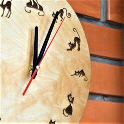 enjoythewoodestonia wooden wall clock cats design