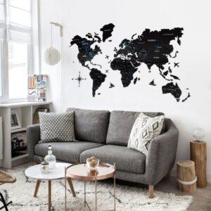 enjoythewoodestonia puidust maailma seinakaart 2d must