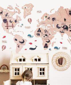 enjoythewoodestonia kids pink world cork map