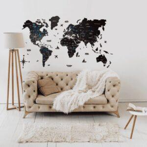 enjoythewoodestonia puidust maailma seinakaart 3D must