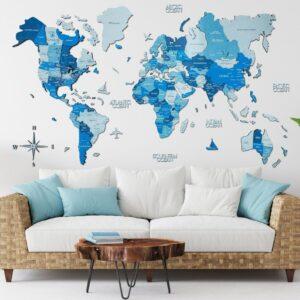 enjoythewoodestonia puidust maailma seinakaart 3D sinine