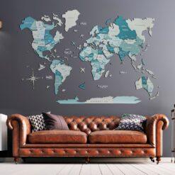 enjoythewoodestonia деревянная карта мира на стену 3D Aqua