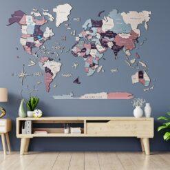 enjoythewoodestonia деревянная карта мира на стену 3D berry