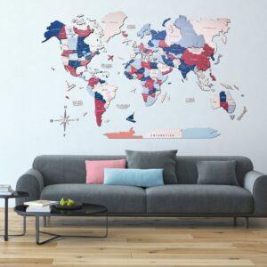 enjoythewoodestonia puidust maailma seinakaart 3d bubble gum