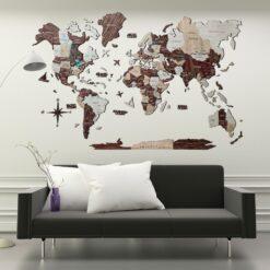enjoythewoodestonia деревянная карта мира на стену 3D cappuccino