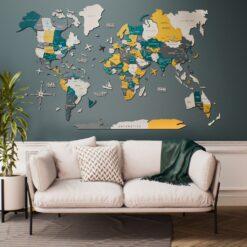 enjoythewoodestonia деревянная карта мира на стену 3D country