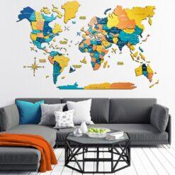 enjoythewoodestonia деревянная карта мира на стену 3D indie