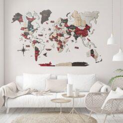 enjoythewoodestonia деревянная карта мира на стену 3D Urban