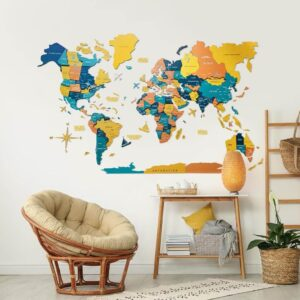 enjoythewoodestonia puidust maailma seinakaart 3d indie