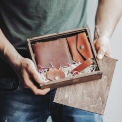 enjoythewoodestonia leather wallet with giftbox