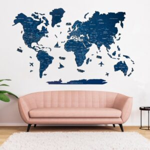 enjoythewoodestonia puidust maailma seinakaart 2D navy blue