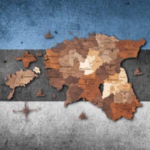 enjoythewoodestonia puidust Eesti seinakaart 3D