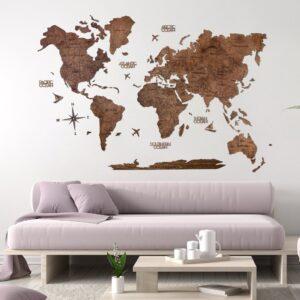 enjoythewoodestonia puidust maailma seinakaart 2D Tume Pähkel