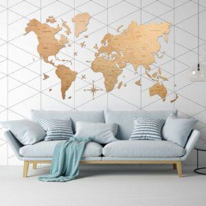 enjoythewoodestonia puidust maailma seinakaart 2D Hele