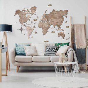 enjoythewoodestonia puidust maailma seinakaart 2D Terra