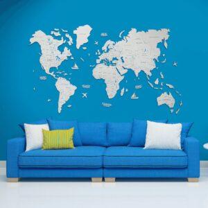 enjoythewoodestonia puidust maailma seinakaart 2D valge