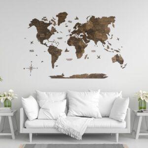 enjoythewoodestonia puidust maailma seinakaart 3D tume pähkel