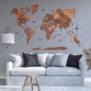 enjoythewoodestonia puidust maailma seinakaart 3D tamm