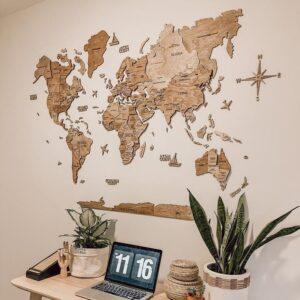 enjoythewoodestonia puidust maailma seinakaart 3D terra