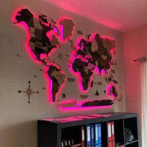 enjoythewoodestonia puidust maailma 3D seinakaart LED ja Akrüülraamiga