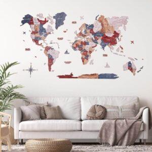 enjoythewoodestonia puidust maailma seinakaart 3d boho