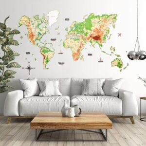 enjoythewoodestonia puidust maailma seinakaart 3d physical
